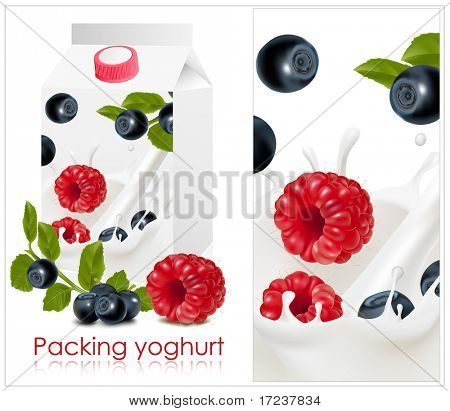 Vector illustration. Background for design of packing yoghurt with photo-realistic vector of forest berries.