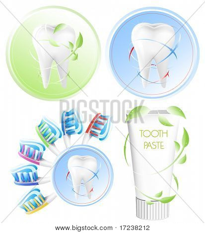 Vector. Dental concept. White tooth,  color toothbrush and toothpaste.