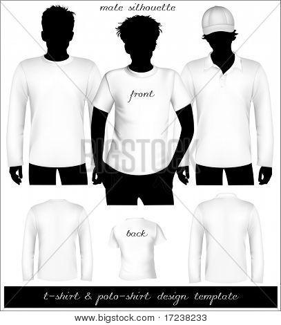 Vector. Blanca t-shirt y Polo de plantilla varonil con la silueta del cuerpo humano.