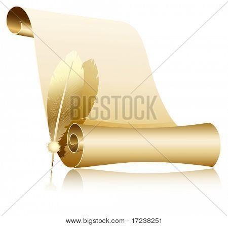 Vektor-Illustration. Papier Blättern Sie mit Federn.