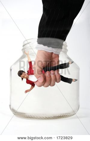 Businesswoman In The Jar