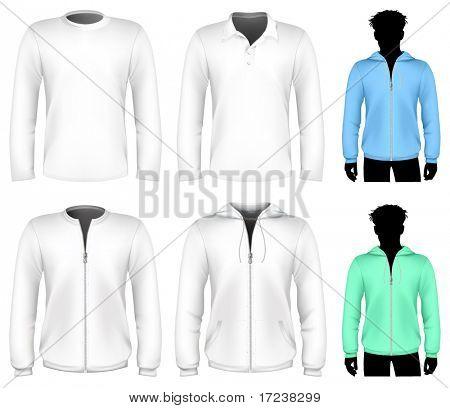 Vector t-shirt, polo shirt and sweatshirt design template. Long sleeve.