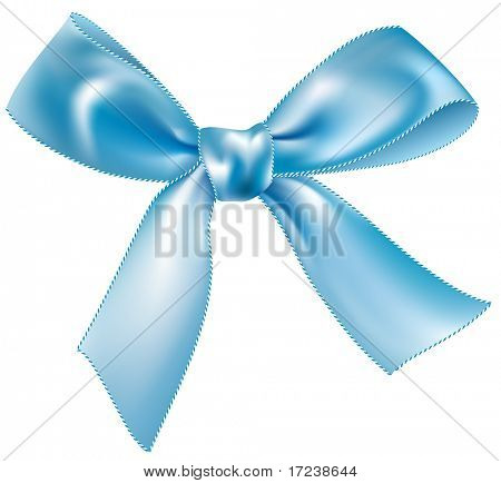 Vector blue silk bow