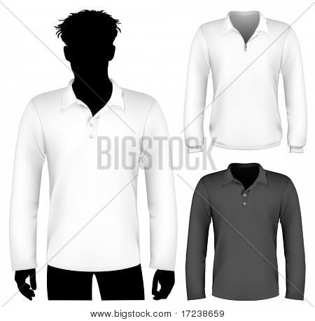 Vector. Polo shirt and sweatshirt design template with human body silhouette.