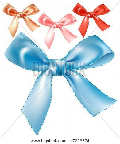 Set of vector silk bows