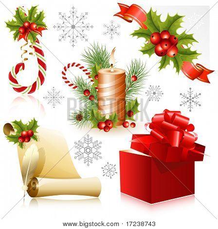 Vector. Conjunto de símbolos de la Navidad.