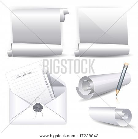 Vector collection of various white scrolls and envelope with wax seal