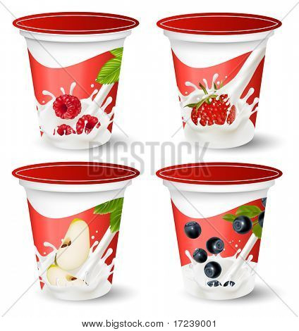 Vector. Background for design of packing yoghurt with photo-realistic vector of berries.