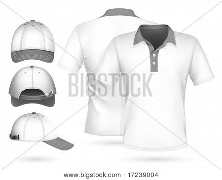 Vector. Men polo shirt design template and baseball cap.