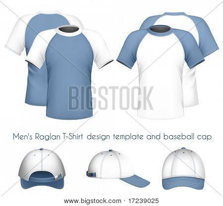 Vector illustration. Men's raglan t-shirt design template & baseball cap.