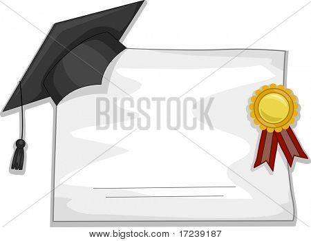 Illustration of a Graduation Cap and Diploma for Background