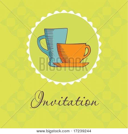 Vintage invitation with two tea cup and coffee mug
