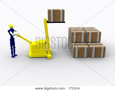 3d Worker With A Forklift