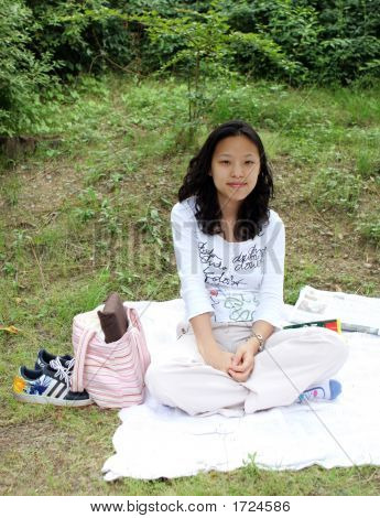 Korean Girl At The Park