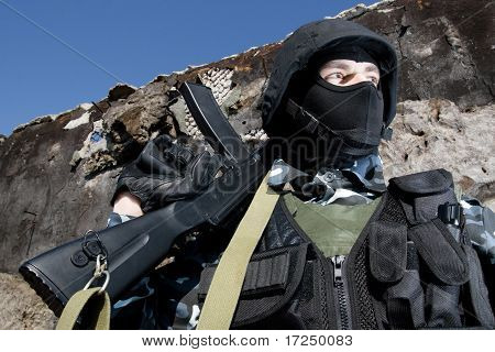 Portait Of A Soldier With Ak-47 Rifle