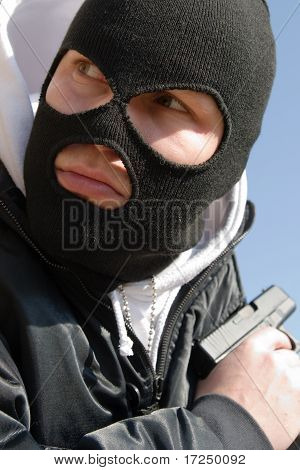 Killer In Black Mask Waiting For His Victim