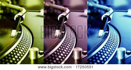 Three Colored Turntable Record Players