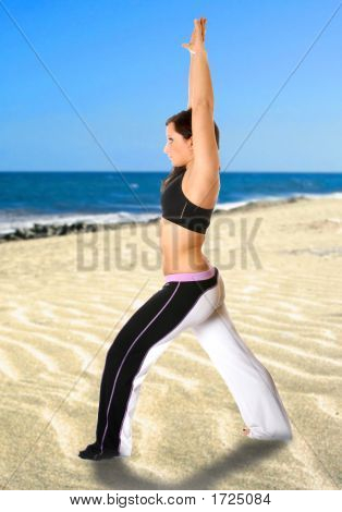 Stretching By The Beach