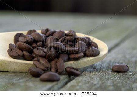 Coffee Beans On A Wooden Spoon 01