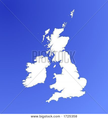 Detailed Map Of United Kingdom On Blue Gradient Background