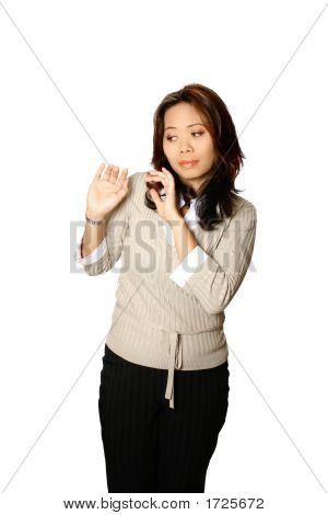Asian Woman In Gesture Of Fear