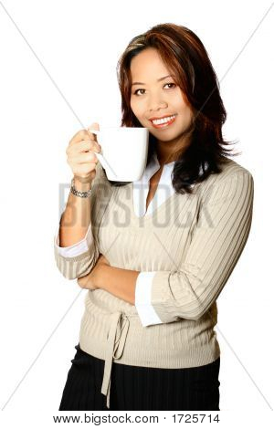 Asian Businesswoman With Coffee Cup