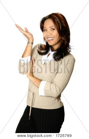 Attractive Businesswoman In A Gesture Of Presentation