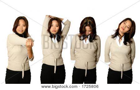Mujer oficinista en varias Poses que estira
