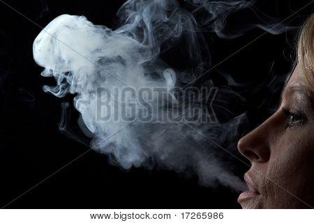 Woman Exhaling Smoke