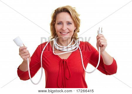 Woman Holding Extension Cord