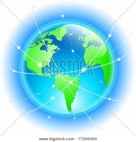 Globus mit drahtgebundenen Umlaufbahnen der Satelliten
