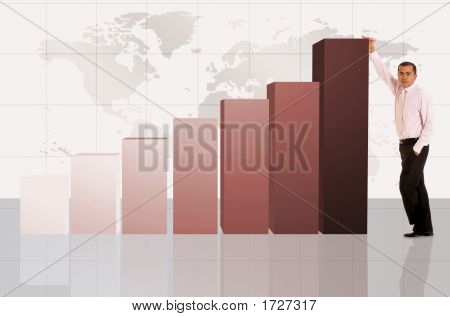 Business Man With Column Chart