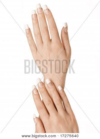 Beautiful hands with cream
