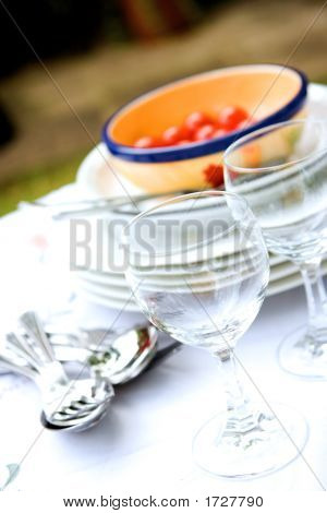Table Setting For Outdoor Dining, With Wine Glasses
