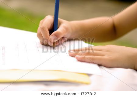 Young Hands Practicing Writing, Outdoors