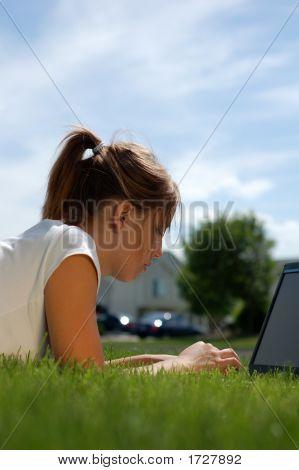 Laptop in den Rasen