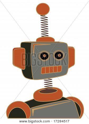 Retro Cartoon Robot Portrait Chunky Line Illustration