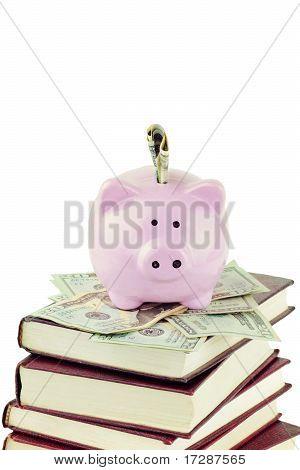 Piggy Bank And School Books