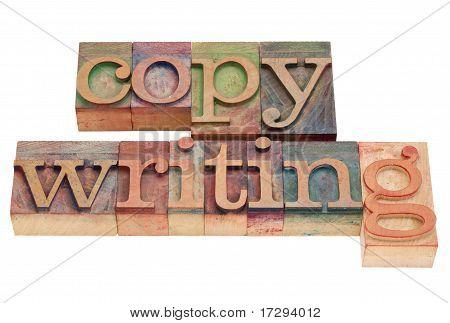 Copywriting Wort im Buchdruck-Typ