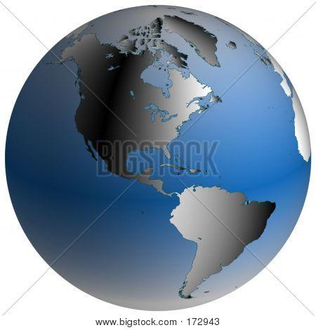 Welt Welt: Amerika, mit Blau schattiert Ozeane