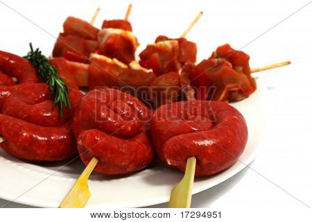 Raw Shashlik And Sausage On The Plate