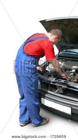 Mechanic Fixing Car Engine. Auto Repair.