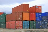 image of boxcar  - A pile of shipping containers at the Ushaia port - JPG