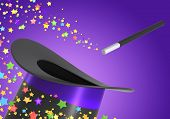 image of magic-wand  - Magic hat and wand with a twirl of multicolor stars - JPG