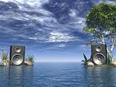 picture of beach party  - loudspeakers at the ocean  - JPG