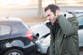 Man Feeling Bad After One Car Crash Accident poster