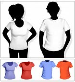 Women's and men's t-shirt template with human body silhouette. White and color.