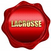 lacrosse, 3D rendering, red wax stamp with text poster