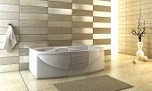 pic of ceramic tile  - 3d rendering of the modern bathroom with backlight - JPG