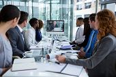 Business people looking at a screen during a video conference in the conference room poster